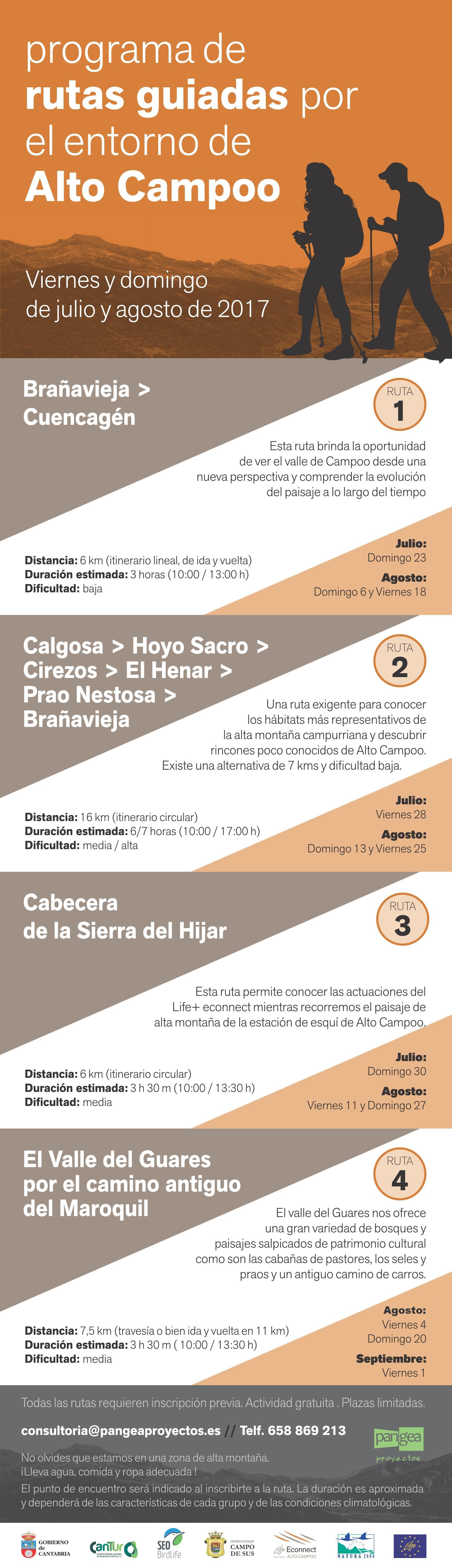 programa rutas guiadas gratuitas por Alto Campoo 2017